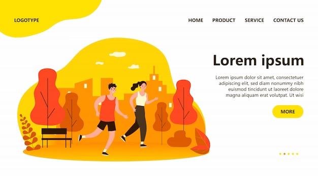 Happy joggers running at park flat illustration