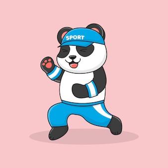 幸せなジョギングパンダ