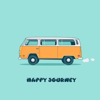 파란색 배경에 고립 된 노란색 캠퍼 밴과 함께 행복 여행 포스터