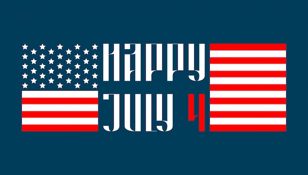 Happy july 4 traditional lettering in russian style