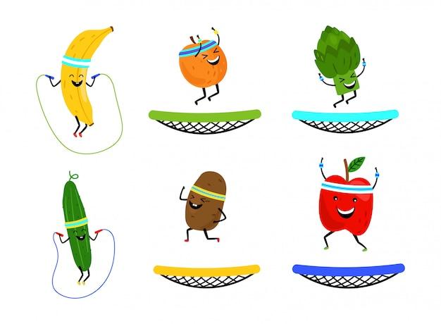 행복 점프 과일과 야채. 만화 건강 식품 흰색 배경에 고립