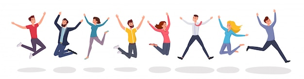 Happy jumping people in in flat style style.