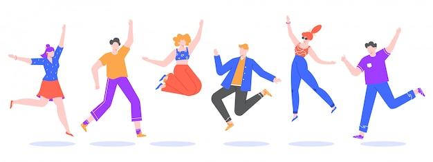 幸せなジャンプの若者。興奮した学生キャラクター、幸せな10代の若者、楽しい人々が一緒にジャンプし、幸せなジャンプチームのイラスト。顔のない漫画人間スタイルで設定