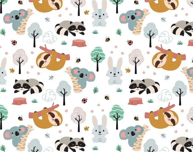 행복 한 정글 코알라와 친구 동물 패턴