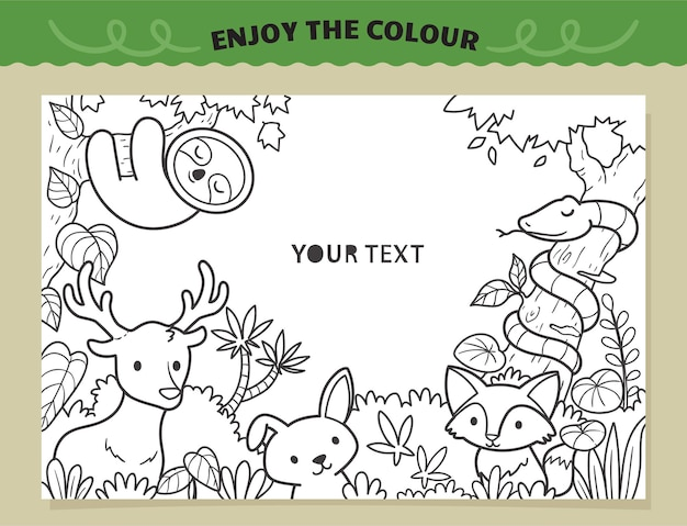 Happy in the jungle coloring for kids
