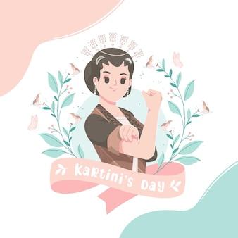 ハッピーカルティーニデーのお祝い。インドネシアの現代女性のエンパワーメント