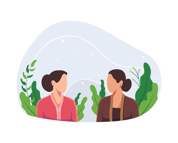해피 카르티니의 날 삽화. 인도네시아 여성 영웅, 여성 권한 부여, 꽃을 든 카르티니 용감한 여성. ra kartini 인도네시아 여성과 인권의 영웅. 평면 스타일의 벡터