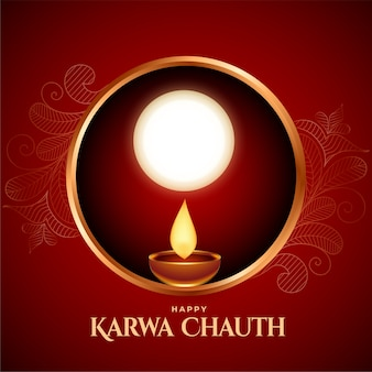 Happy karwa chauth background with sieve and diya