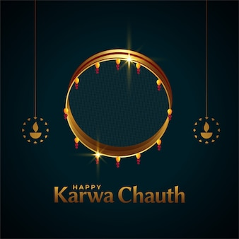 Happy karwa chauth card with sieve and diya