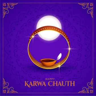 Happy karwa chauth decorative background of indian festival