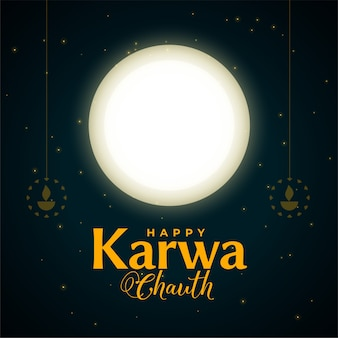 Happy karwa chauth decorative card of traditional indian festival
