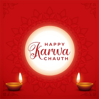 Happy karwa chauth decorative card with moon and diya