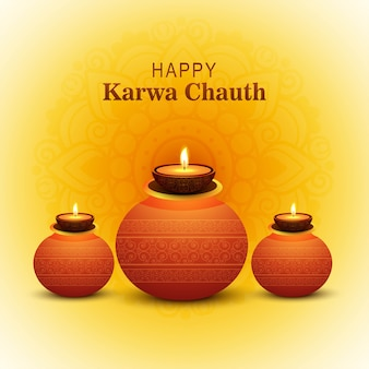 Happy karwa chauth festival card celebration design