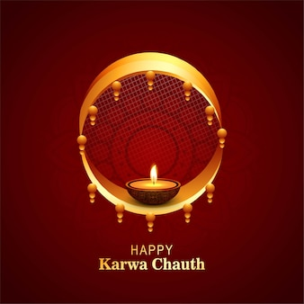 Felice karwa chauth festival card celebration design