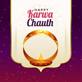 Happy karwa chauth festival card greeting celebration background