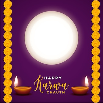 Happy karwa chauth festival card with diya and moon