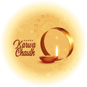 Happy karwa chauth festival card with diya