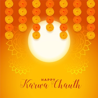 Happy karwa chauth festival card with full moon and marigold flower