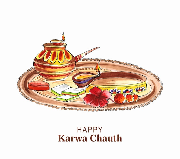 Felice disegno della cartolina d'auguri del festival di karwa chauth