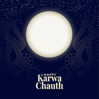 Happy karwa chauth full moon card