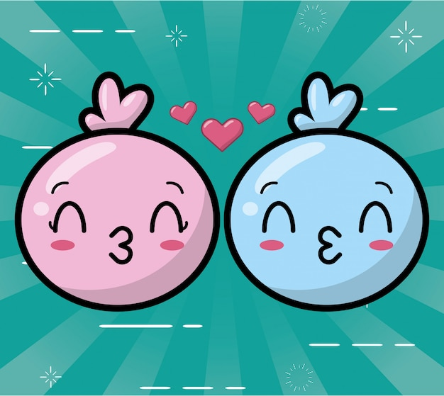 Happy kawaii emojis синий и розовый