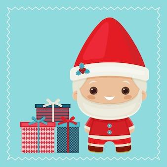 Happy kawaii inspired santa claus with gift boxes