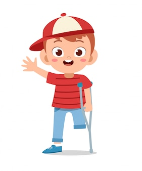 Happy kid boy handicap vector