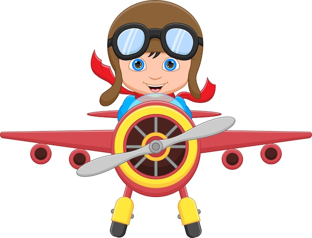Happy kid boy riding a plane on white background
