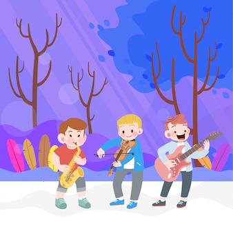 Happy kid boys play music in the garden vector illustration