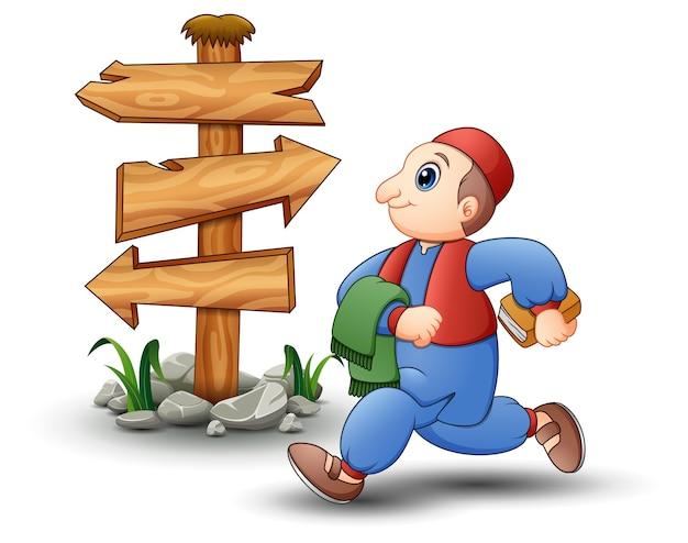 Счастливый ребенок мультфильм, ходить с пустой древесины стрелка знак