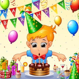 생일을 축하하는 행복한 아이