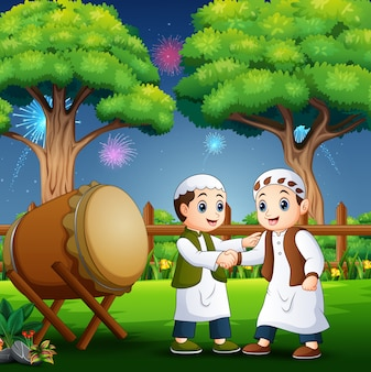 Happy kid celebrating eid al fitr