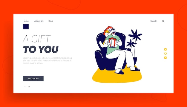 Happy kid congratulating dad with holiday and giving gift landing page template