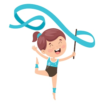 Happy kid doing gymnastics exercise