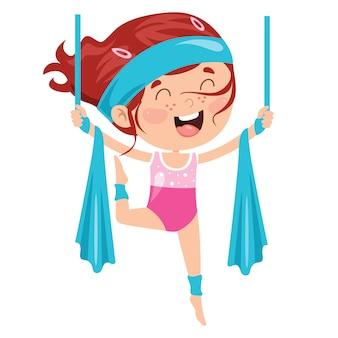 Happy kid делает гимнастические упражнения