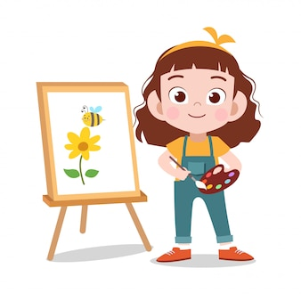 Happy kid draw flower painting