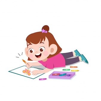 Happy kid drawing painting