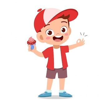 Happy kid eating