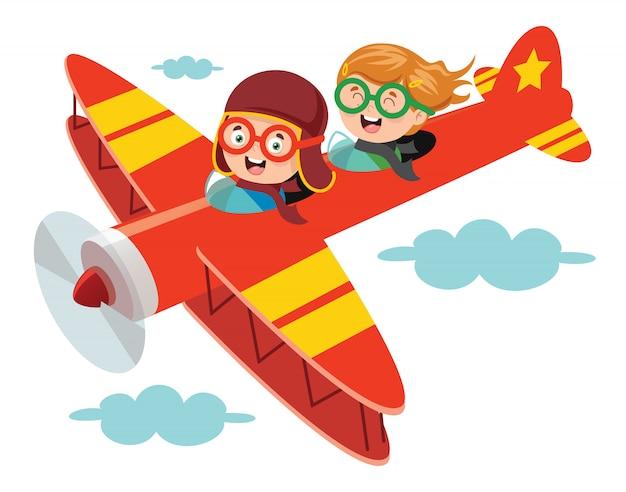 Счастливый малыш летит в самолете Premium векторы