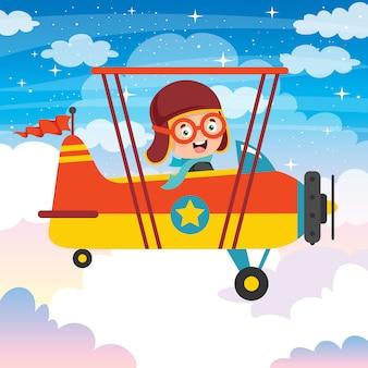 Счастливый малыш летит в самолете