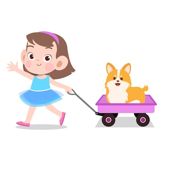 Happy kid girl pulling wagon toys pet