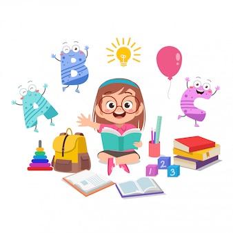 Happy kid girl studying