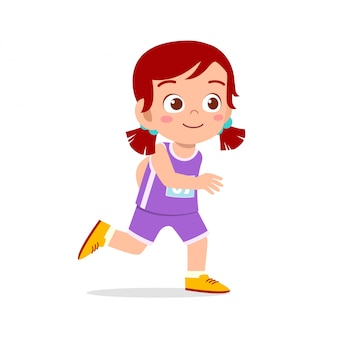 Happy kid girl train run marathon jogging