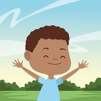 Happy kid having fun cartoons