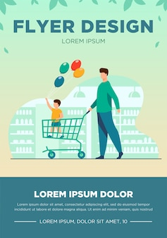 Happy kid holding balloons and standing in trolley. father, son, fun flat vector illustration. shopping and supermarket concept for banner, website design or landing web page