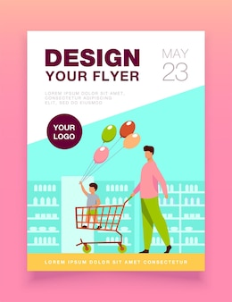 Happy kid holding balloons and standing in trolley flyer template