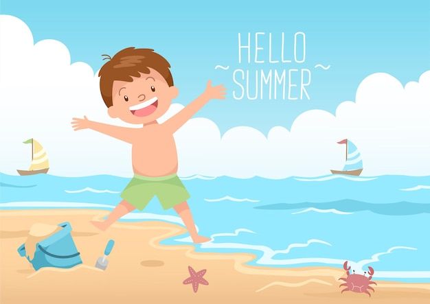 Happy kid jumping hello summer