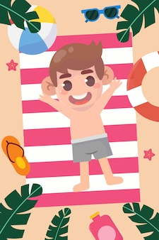 해변 휴가 그림에 행복 한 아이