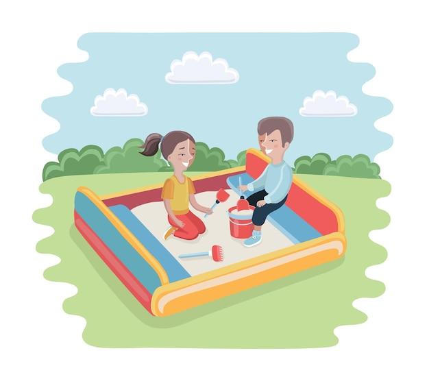 Счастливый ребенок играет в песочнице очаровательный веселый маленький персонаж