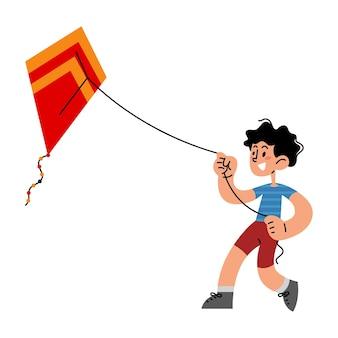 Happy kid playing kite flat vector illustration